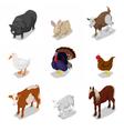 Isometric Farm Animals Set with Cow Rabbit vector image