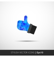 Flat style with long shadows thumbs up vector image