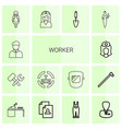 14 worker icons vector image vector image