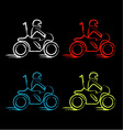 A biker on a motorbike with sketch effect vector image vector image