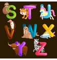 animals alphabet set for kids abc education in vector image vector image