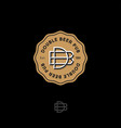 b d letters double beer pub logo brewery emblem vector image vector image
