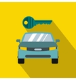 Blue car and key icon in flat style vector image vector image