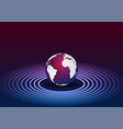 blue purple globe and neon circles tech background vector image