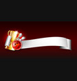 bowling sport emblem with trophy cup red glossy vector image vector image