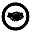 business handshake icon black color in circle vector image vector image