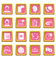 call center symbols icons pink vector image vector image