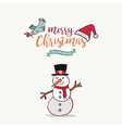 christmas and new year cute snowman cartoon card vector image vector image