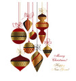 christmas baubles set in red gold and black vector image