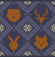 christmas knitted pattern with wild forest animals vector image vector image