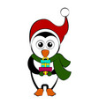 christmas penguin character holding a present vector image