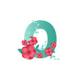 color number 0 with beautiful flowers vector image vector image