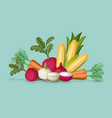 colorful frame with set of realistic vegetables vector image vector image