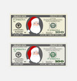 design template 100 dollars banknote with santa vector image