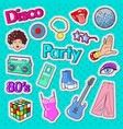 disco party vintage style stickers badges vector image vector image