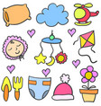 doodle of baby colorful element vector image vector image