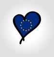 european union flag heart-shaped hand drawn logo vector image