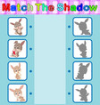 find the correct shadow of the rabbit vector image