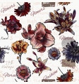 floral seamless background with watercolor style vector image