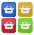 four square color icons shopping basket minus vector image vector image