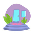 front door with welcome doormat in front door vector image
