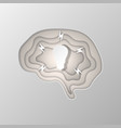 gray silhouette of the brain carved on paper vector image vector image