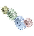 group of connected isometric 3d gears vector image