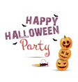 halloween party poster with pumpkins greeting vector image