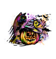 halloween pumpkin in witch hat and cat vector image