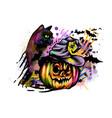 halloween pumpkin in witch hat and cat vector image vector image