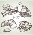 hand drawn sketch meat products set black and vector image vector image