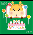 Happy birthday card with fun giraffe vector image vector image