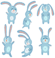 happy cute cheerful rabbits set vector image vector image