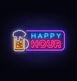 happy hour neon banner design template vector image vector image