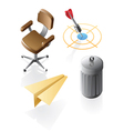 Isometric icons for office time vector image vector image