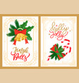 jingle bells and holly jolly greetings christmas vector image vector image