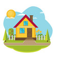 landscape with beautiful house vector image vector image