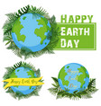 logo design for happy earth day vector image