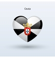 Love Ceuta symbol Heart flag icon vector image vector image