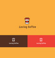 loving coffee logo vector image vector image