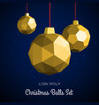 low poly merry christmas balls vector image