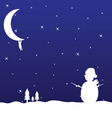man hanging on the moon and snowman vector image vector image