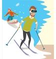 Man playing a Virtual Reality game Skiing vector image