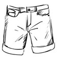 man shorts drawing on white background vector image vector image