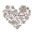 mehendi oriental floral ornament in indian mehndi vector image