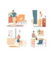 people at home healthy lifestyle personal care vector image