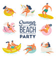 pool party doodle set happy people summer vector image