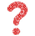 question mark mosaic of dice icons vector image