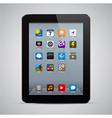 Realistic black tablet with apps vector image