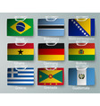 realistic set of flags of paper of countries with vector image vector image
